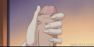 Big meloned hentai babe fingered in close-up