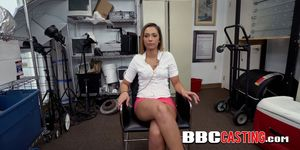 Hot chick easily takes off her shorts to be fucked by directors BBC