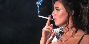 Gorgeous brunette girl smoking sexy