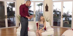 Blonde babysitter rammed