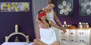Busty Asian gets erotic lesbian massage