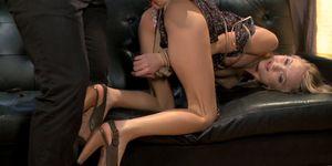 Slim blonde is anal toyed in hogtie (Dakota Skye)